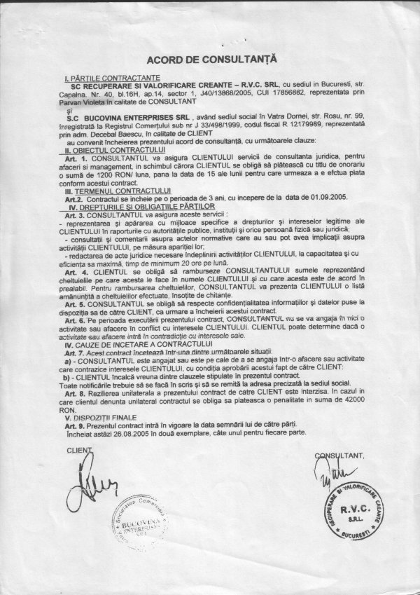 contract Parvan Violeta